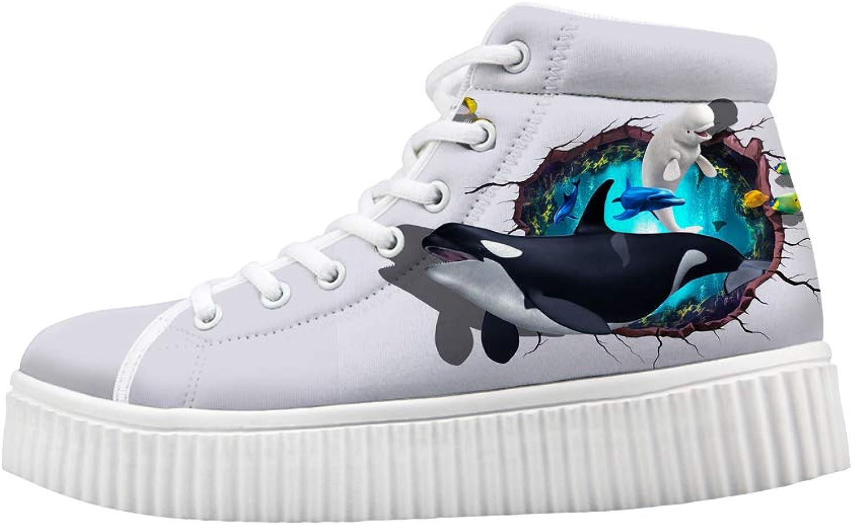 Owaheson Platform Lace up Sneaker Casual Chunky Walking shoes High Top Women Beluga Killer Whale Breaking Through Wall