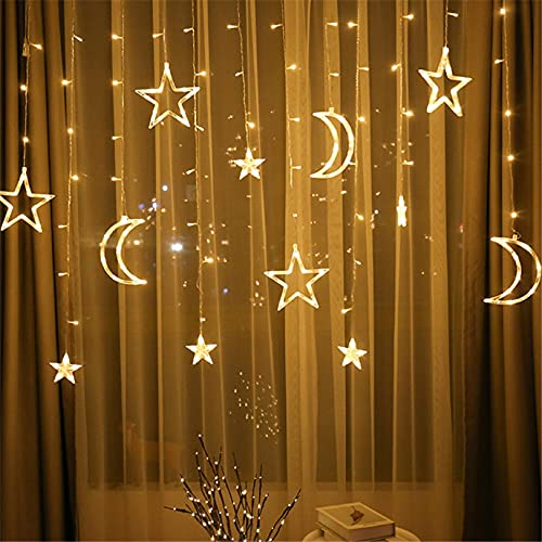 LED Star Moon String Lights, Romantic Twinkle Fairy Crescent Starry Decoration with Plug in Transparent Strand Night Lamp Rope for Indoor Outdoor Window Curtain Party Garden Home (Warm White)