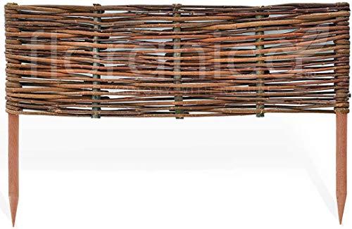 Floranica® Beeteinfassung | Weidenzaun | Weideneinfassung | 1 Stück | Höhe: 40cm | Länge: 100cm | Gartenpalisade aus Holz | Einfassung für Beete, Rabatten und Rasenflächen | Steckzaun | 22 Größen