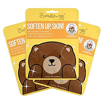 The Crème Shop Korean Skin Care Animal Face Mask Sheet 3 Pack  Bear  Honey