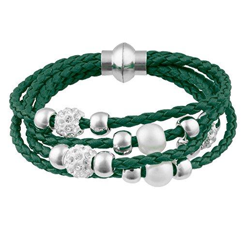 Mianova Damen Glück Armband Armreif geflochten mit Strass Kristall Steinen Shamballa und Perlen Kugeln Leder Leder Armband Armreif Dunkelgrün