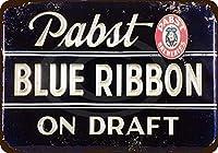 Shimaier 壁の装飾 メタルサイン Pabst Blue Ribbon Beer On Draft ウォールアート バー カフェ 縦30×横40cm ヴィンテージ風 メタルプレート ブリキ 看板