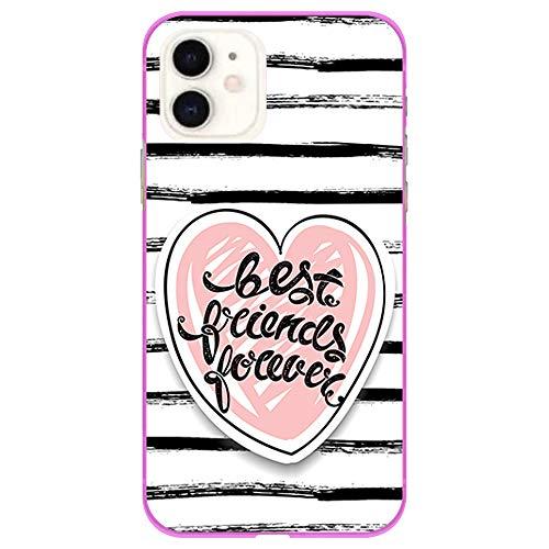 BJJ SHOP Rosa Hülle für [ iPhone 11 ], Klar Flexible Silikonhülle, Design: Herz mit gestreiftem Hintergrund, Best Friends Forever