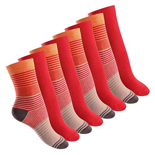 Footstar 8 Paar Damen Socken in 3 Farbvarianten Orange Rot-39-42