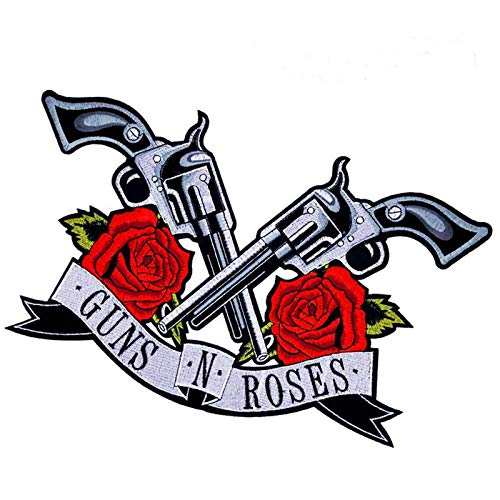 Guns Roses Patches Iron on Patch/Embroidered Patch This Appliques are Great for T-Shirt, Jean,Jacket, Backpack