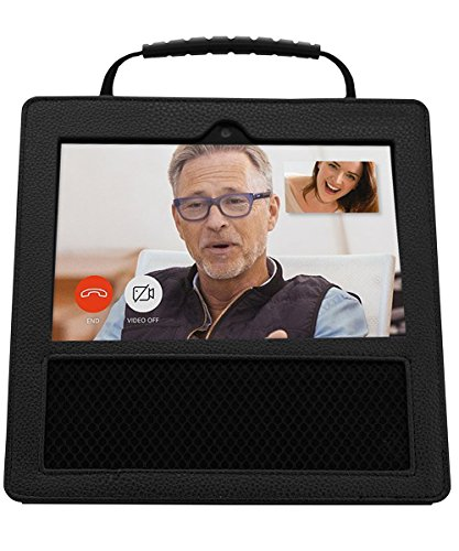Bidear Leather Protector Cover Case with Handle for Amazon Echo Show (Black)