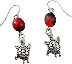 Peruvian Turtle Gift Dangle Earrings - Symbol of Persistence & Longevity w/Huayruro Red & Black Seed- Ecofriendly by EB