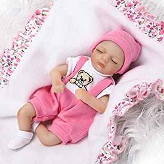 Pinky 20cm 8 Inch Mini Reborn Baby Palm Doll Hard Vinyl Silicone Girl Boy Twins Realistic Newborn Dolls Xmas Birthday Present (Girl)