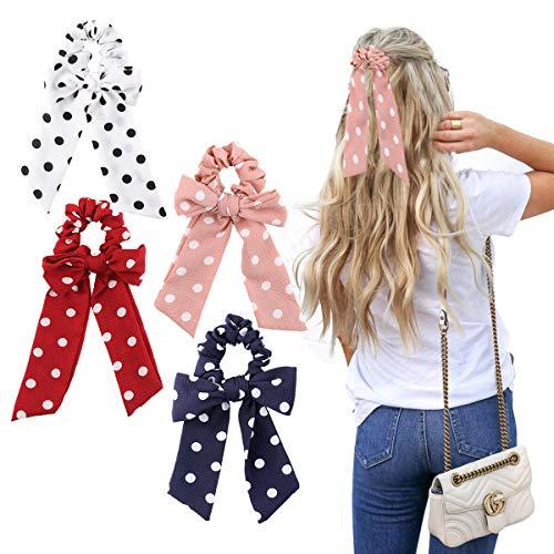 WELROG 4 Stücke Frauen Haar Haargummis Haar Krawatten Kopfverpackung Gummibänder Haar Zubehör (Wellenpunkt (Rosa/Weiß/Marine/Rot))