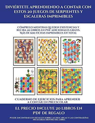Cuaderno de ejercicios para aprender a contar en preescolar (Diviértete aprendiendo a contar con estos 20 juegos de serpientes y escaleras ... PDF adicionales gratis. Más de 600 fichas (9)