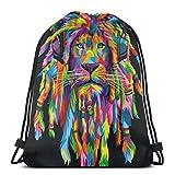 NPNP Mochilas con cordón Lion Head Mochila Pull String Bags Almacenamiento Deportivo a Granel para niños Mochila de Picnic Reutilizable para Acampar