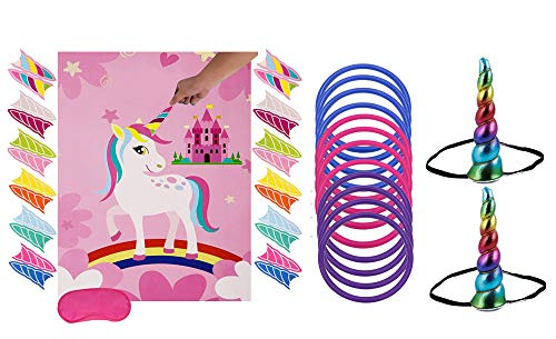 Unicorn Party Game Set  Unicorn Ring Toss Game +Pin The Horn on The Unicorn  Birthday Party Favor Games for Kids,Perfect Gift For Birthday And Christmas.