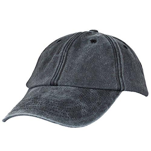 Sportmusies Unisex Baseballmütze, gewaschener Baumwoll-Twill, niedriges Profil, verstellbar, für Laufen und Golfschläger, Herren, Schwarz, Einheitsgröße