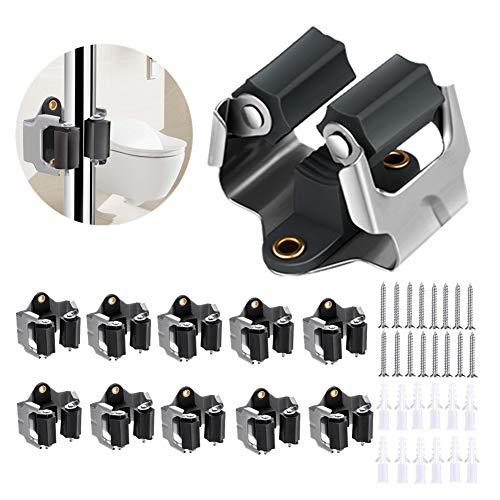 3-H Besenhalter, Gerätehalter Wandhalterung für Haus & Garten, Wandhalterung für Gartengeräte, Werkzeuge (schwarz 10er)