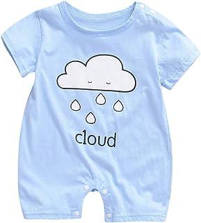 Ropa bebé Verano Pelele Recién Nacido bebé Unisex Mameluco Manga Corta Camiseta Color sólido Body Bebe Pijama Lindo Ropa de Dormir para Chico Traje de bebé Niño 0-18 Meses