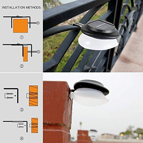 Outdoor Solar Gutter Lights【Upgraded Version】9 LED Solar Fence Post Lights Wall Mount Decorative Deck Lighting with Auto On/Off Dusk to Dawn, Black, Cool White Light, Pack of 6