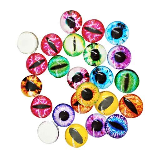 Artibetter 200 st blandade runda glasdrake öga ädelsten lock cabochon för huvor smycken som hittar hängande dockskapande av miniatyrer