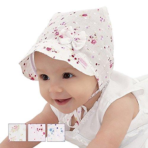 For you Baby Mütze Sommer Hut Cape Neugeborene Frühchen für Mädchen in Weiß mit Marienkäfermuster 100% Baumwolle (38)