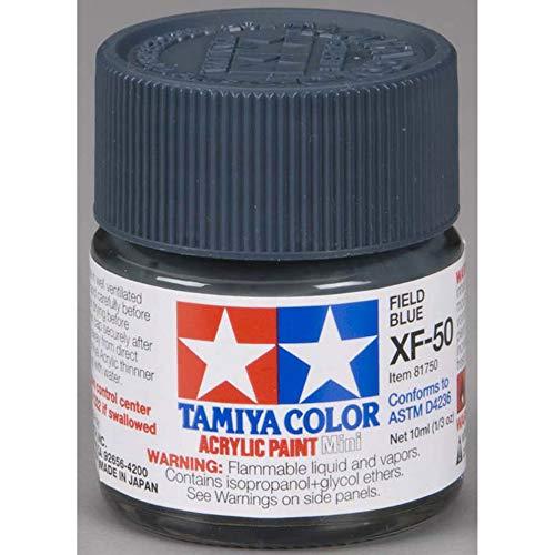 Tamiya 81750 - Pintura Acrílica Mini, Mate Azul Campo Frasco de 10 ml, XF-50