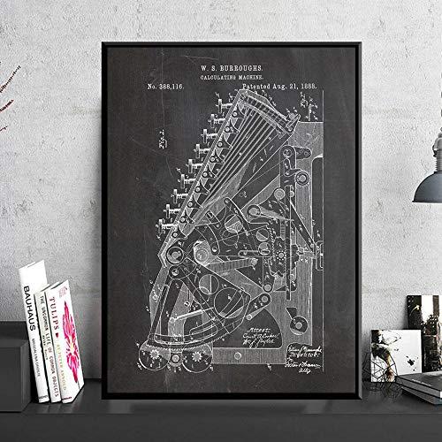 Machine octrooi toevoegen Vintage Poster eerste rekenmachine Science Print schilderij blauwdruk muur foto kamer Home Decor 40 x 60 cm geen Frame
