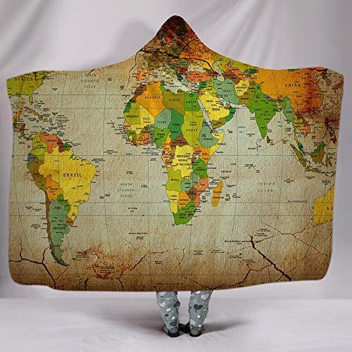 ACC volwassenen met capuchon deken wollen deken, warme en zachte capuchon sjaal deken omhang geschenk van de kinderdeken, meditieval creatieve wereldkaart