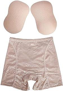 Butt Lifter Padded - Women's Waist Trainer Shaper Pants - Control Panties Hip Butt Lifter Body Shaper Slimming Underwear 2pcs (Color : Beige, Size : Small)