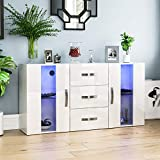 Vida Designs Astro 2 Door 3 Drawer Modern LED Sideboard in White, RGB Lights (Fade/Strobe Options Included), Wooden Matte Style with High Gloss Features