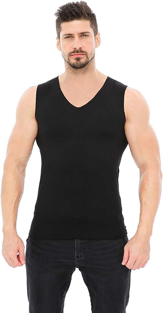 Aiweijia Men's Thermal Tops V Neck Soft Warm Seamless Man Thermal Underwear Black