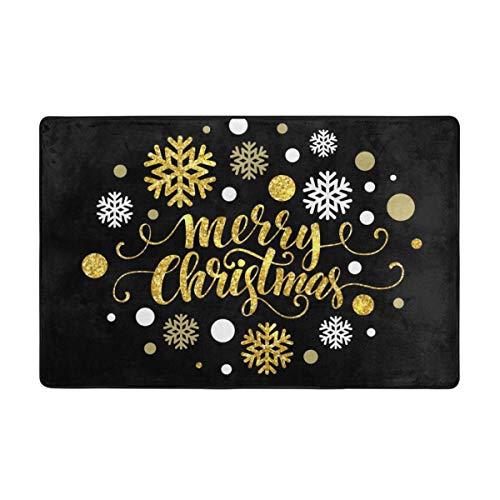 KATERN Alfombrilla baño, Alfombra de Cocina Puerta Pies Estera Felpudo,Feliz Navidad Oro Brillante diseño de...