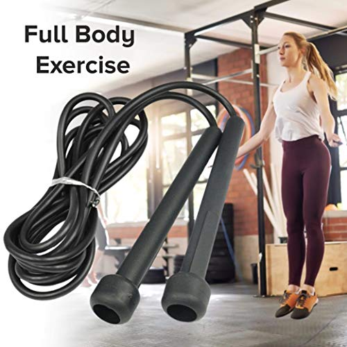Skipping Rope Adult Fitness for Men & Women Speed Jumping Rope Comfortable Handle For Fat Loss Burning Exercise Best For Home Gym Workout Equipment (Black/Black)