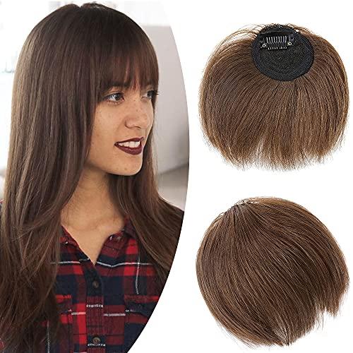 SEGO Frangia Clip Capelli Veri Frangetta Irregolare Lunghezze Varie 100% Remy Human Hair Bang 8.5g #4 Marrone Cioccolato