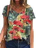 3XL Tops para Mujer De Talla Grande con Estampado Floral En 3D Camiseta Suelta con Cuello En V De Manga Corta Camiseta Informal Top Verano Nueva Ropa
