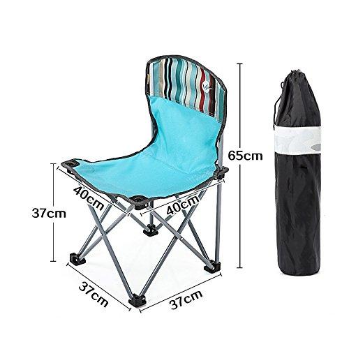 Portable Chair vierkante blauwe Oxford Doek Klapstoel Strand Wandelen Picknick rugleuning Zitting met Backpacken, 37 * 65CM 421 (Color : Blue)