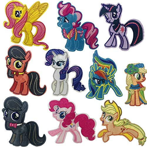 NANANA Parche de unicornio para ropa, diseño de caballo de My Little Pony, para planchar o coser en tela, 10 unidades