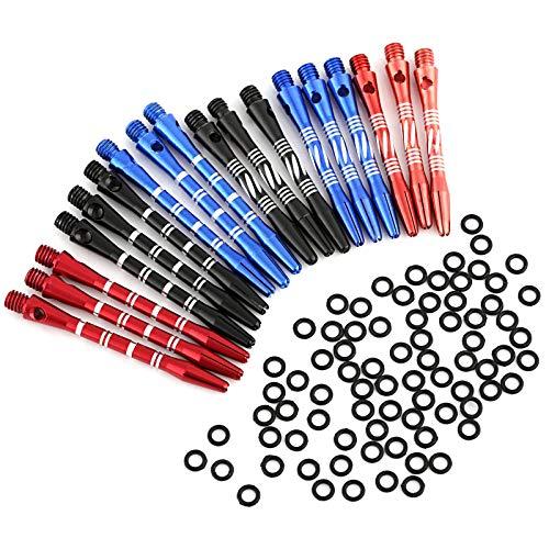 GWHOLE 18 Pezzi Dart Stems Aste per Freccette Dart Shafts in Alluminio per Freccette con O Ring