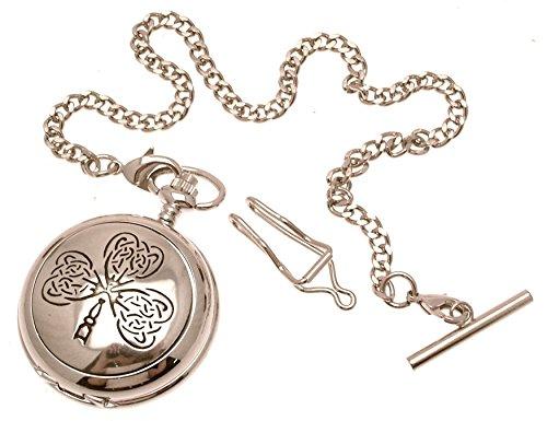 Engraving included - Solid pewter fronted mechanical skeleton pocket watch - Celtic leaf design 22