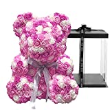 SAVVY BEAUTY LED Teddy Rose Flower Bear with Gift Box - Pink, White and Purple - Hand Made Large 16 inch Preserved Rose Teddy Bear - Gift for Mothers Day, Valentines Day, Anniversary & Bridal Showers