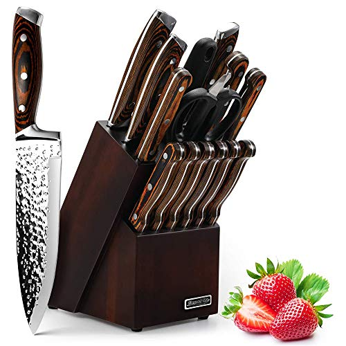 Knife Set, Elegant Life 15-Piece Kitchen Knife Set with Block Wooden, Manual Sharpening for Chef Knife Set, Self Sharpening for Chef Knife Set, Japan Stainless Steel, Boxed Knife Sets