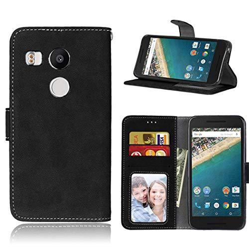 Ycloud Portafoglio Custodia per LG Google Nexus 5X Smartphone, Opaca Texture PU Pelle Magnetica Flip Caso Cover con Fessura Carte e Funzione Staffa (Nero)