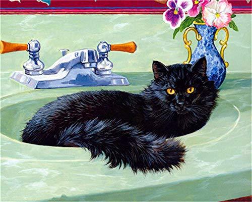HU0QWPKU Zwarte kat in wastafel DIY romantisch mooi schilderij model, plezier digitaal, schilderen, kinderen, schilderen, kunst, cadeau, familie, decoratie, souvenir 50cmx60cm