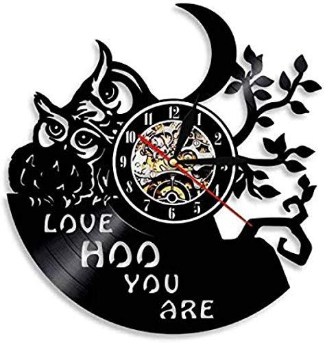 Reloj de Pared de Vinilo búho Amor Oh You Are Reloj de Pared con Registro de Vinilo Animal Retro Moderno Regalo Hecho a Mano decoración Fresca para el hogar