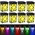 Fudosa Solar Fence Lights Outdoor, 2 Modes LED Deck Lights IP55 Waterproof Colorful Wall Lighting for Patio Yard Stair Corridor Path Driveway 8 Packs (Amber/Multi-Color)