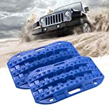 BUNKER INDUST Off-Road Traction Boards, 2 Pcs Recovery Tracks Traction Mat for 4X4 Jeep Mud, Sand, Snow Traction Ladder-Blue Tire Traction Tool