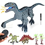 Remote Control Dinosaur Toys for Kids, 2.4Ghz RC Simulation Velociraptor Walking Electronic Dinosaur Robot Toy with Lights and Roaring Toy Gifts for Kids 3 4 5 6 7 8 9+ Years Old Boys Girls (Grey)