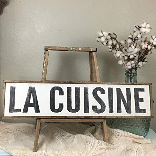 Dozili Señal de cocina francesa La Cuisine para decoración de pared de granja de cocina, letreros de madera personalizados, letreros de cocina de 15,2 x 50,8 cm