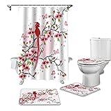 BANLV 4 unids/Set Rosa Sakura pájaros impresión Cortina de Ducha Impermeable Cortina de baño Cubierta de Inodoro Alfombra Antideslizante Juego de decoración de bañera