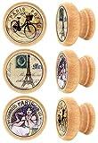 Lashuma - Tiradores redondos para cajones - Material: madera, estables, de 4 cm de diámetro, juego de 6, estilo vintage