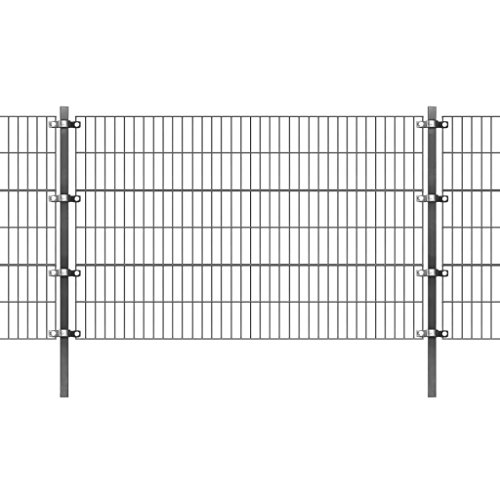 fzyhfa Panneau de clôture avec poteaux 6 x 1,2 m Anthracite Design Beau, robuste et fiable également résistant Clôture Jardin Panneaux Clôture