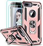 LeYi Funda para iPhone 8 Plus/iPhone 7 Plus/iPhone 6 Plus / 6S Plus con [2-Unidades] Cristal Vidrio Templado, Armor Carcasa con 360 Anillo Soporte PC Silicona TPU Bumper Antigolpes Case, Rosa
