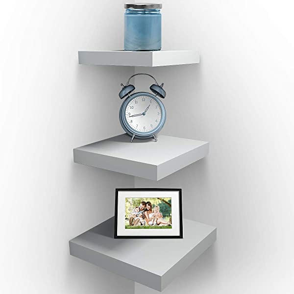 Sorbus Wall Mount Corner Shelves Square Hanging Wall Shelves Decoration Perfect Trophy Display Photo Frames Home D Cor Set Of 3 White